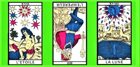 Image de trois cartes du Tarot gratuit sur la question de l'amour du site web Shopbreizh.fr